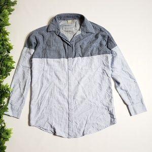 ASOS Color Block Linen Blend Button Down Shirt